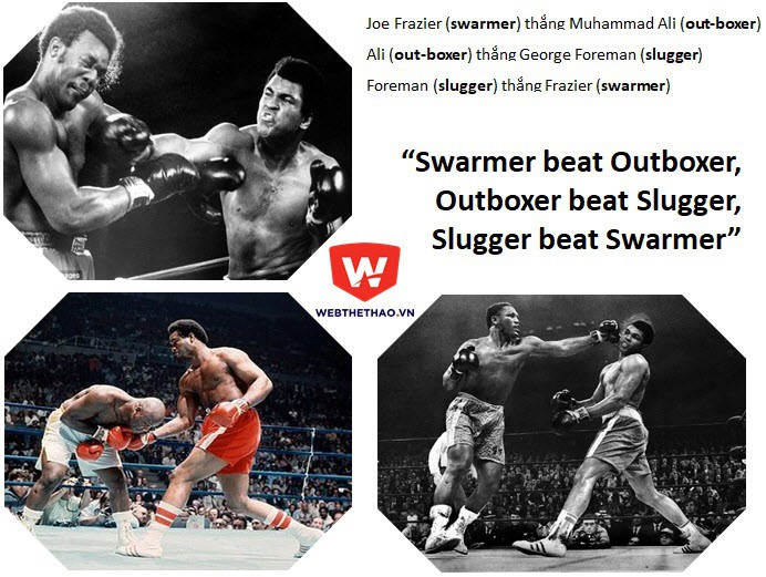 """''Swarmer thắng Outboxer, Outboxer thắng Slugger, Slugger thắng Swarmer"""""""
