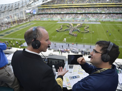 120901-N-WL435-762  DUBLIN (Sep. 1, 2012) Chief of Naval Operations (CNO) Adm. Jonathan Greenert is interviewed by a radio sports news reporter during the Notre Dame versus Navy NCAA Emerald Isle Classic college football season opener. (U.S. Navy photo by Mass Communication Specialist 1st Class Peter D. Lawlor/Released)