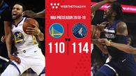 Warriors liên tiếp 2 năm để thua Timberwolves tại trận mở đầu preseason