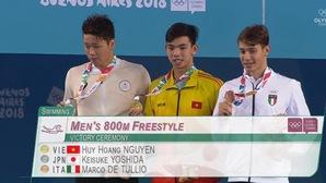 Nguyễn Huy Hoàng đánh bại kình ngư Nhật Bản giành HCV Olympic trẻ 800m lập KLQG