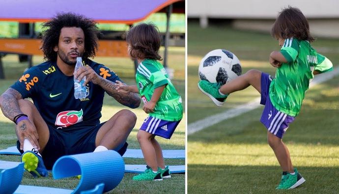 Con trai Marcelo thể hiện kỹ năng chơi bóng trong buổi tập của ĐT Brazil tại World Cup 2018