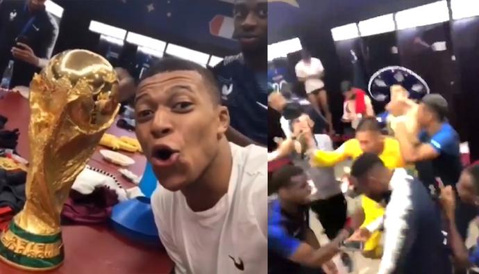 Màn ăn mừng của ĐT Pháp trong phòng thay đồ sau khi vô địch World Cup 2018