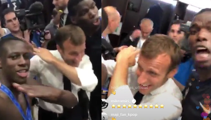 """Tổng thống Pháp... """"dab"""" cùng Paul Pogba, quẩy nhiệt tình với chức vô địch World Cup 2018"""